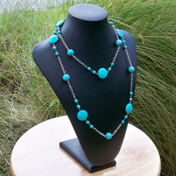 Whitney - Long Turquoise Beaded Silver Chain Necklace - Can Be WORN MULTIPLE WAYS
