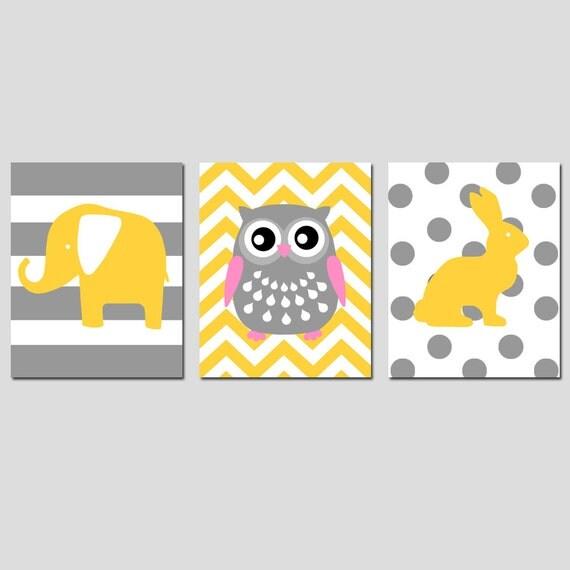 Nursery Animals Trio - Set of Three 11x14 Nursery Art Prints - Striped Elephant, Chevron Owl, Polka Dot Bunny Rabbit - CHOOSE YOUR COLORS