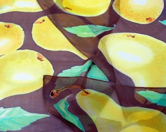 Hand-Painted Fruity Silk Scarf. Yellow Pears with Dark Chocolate. Silk Chiffon. Stylish Gift for Grandmather. 14'' x 72''