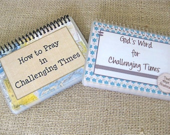 SALE - How to Pray in Challenging Times/God's Word for Challenging Times Combo Set, Laminated Prayer and Scripture Cards, Spiral-Bound