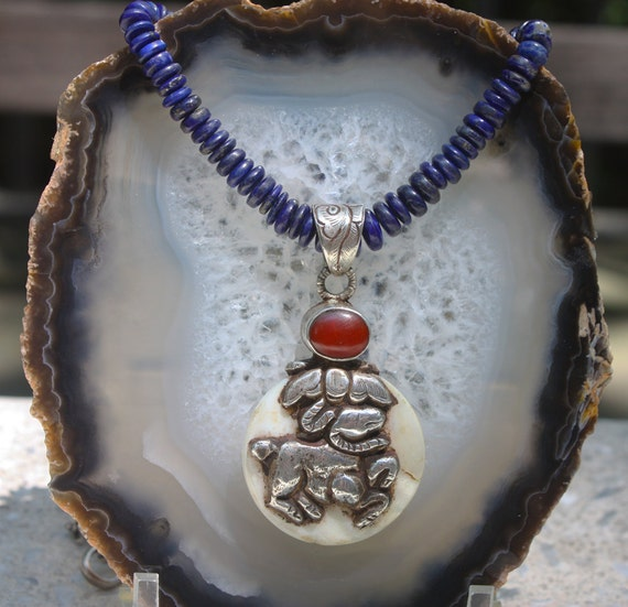 Lapis Carnelian Mother of Pearl  Silver Talisman Necklace