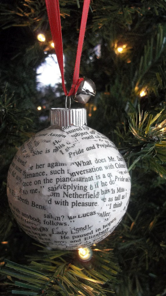 NEW-Jane Austen-Pride and Prejudice-Holiday Ornament-Made From Recycled Book Pages-OOAK