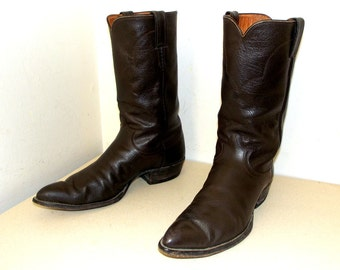 Vintage Rockabilly style Justin classic brown leather cowboy boots size 11 B