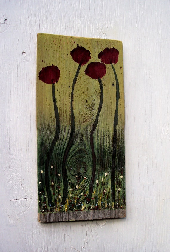 Red flowers on reclaimed wood Shingle painting, FREE Shipping