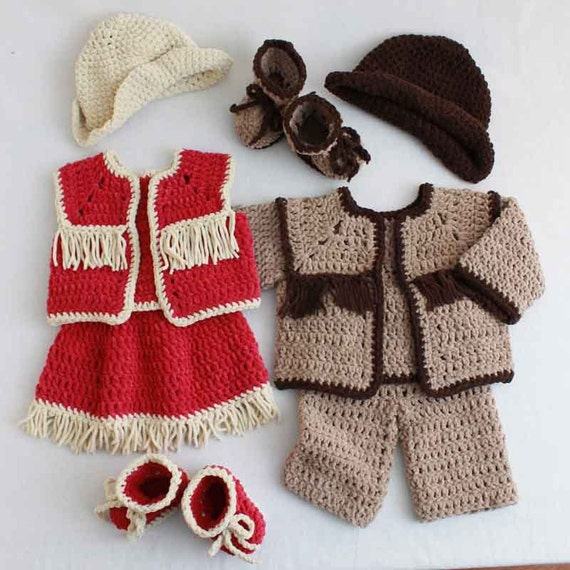 Crochet Baby Cowboy Set Pattern : Baby Cowboy and Cowgirl Set Crochet Pattern PDF