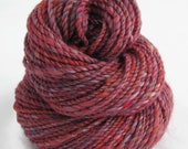 120 yds, worsted weight, handspun yarn, 'Aphrodite's Child', 2 ply, alpaca, sik