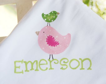 personalized baby blanket with whimsical stacked birdies in pink and green