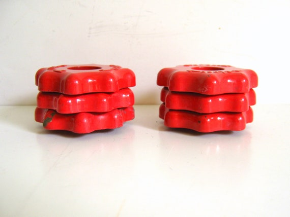 Red Water Valves-Vintage-Steampunk-Garden Collection-Water Handles-Valve Handles-Christmas Red