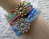 Hippie Style Beaded Stacking Bracelets, Boho Stretch Bracelets, Elastic Stretch Beaded Bracelet with Flower Brooch Clasp