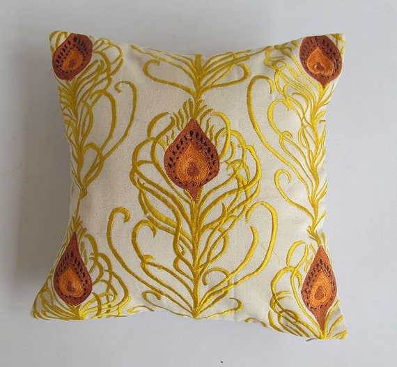 cream decorative peacock pillow cover with brown and golden yellow peacock feather  14 inch