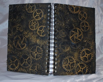 Gold gear journal sketch book for musings and inventions
