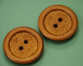 Lot of 4 larger vintage 1960s unused round goldbrown leather imitation plastic buttons for your sewing prodjects