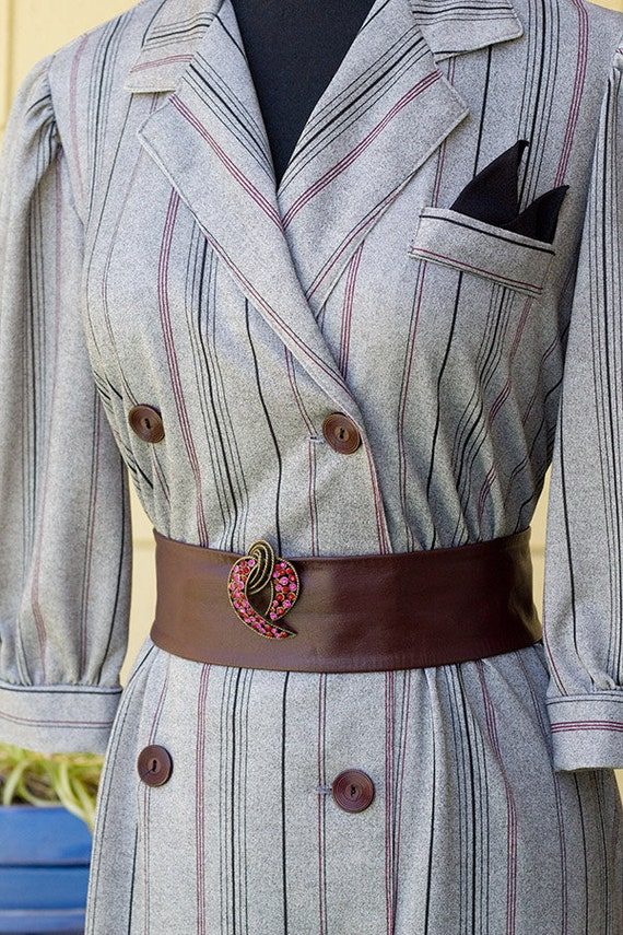 Vintage 1980's double breasted pinstripe dress, marked size 7
