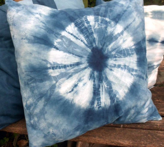 Indigo Shibori Pillow Large Circle Pattern Reserved for Jennifer