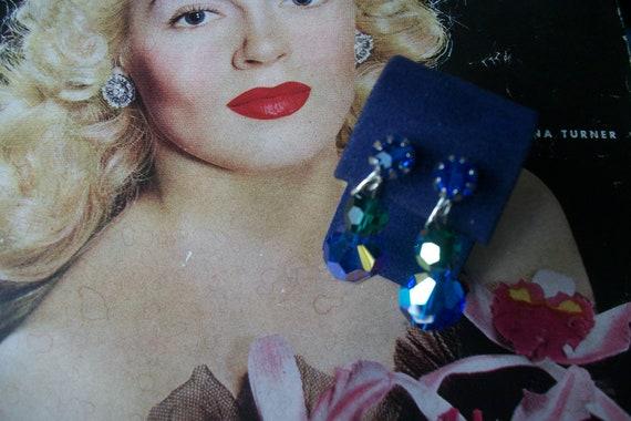 Vintage Silver Tone Glass Beaded Aurora Borealis Blue Dangle Clip On Earrings wedding Bridal   325