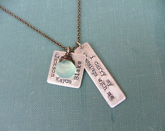 I Carry My Blessings With Me Custom Hand Stamped Mommy Necklace with Wire Wrapped Blue Chalcedony Stone by MyBella