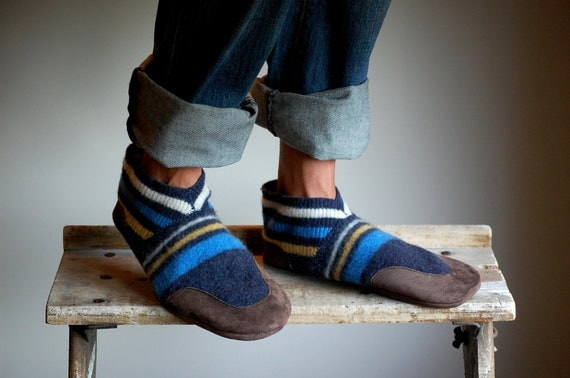 Wool Slippers, Made from Recycled Materials, men size 12, Good Sport