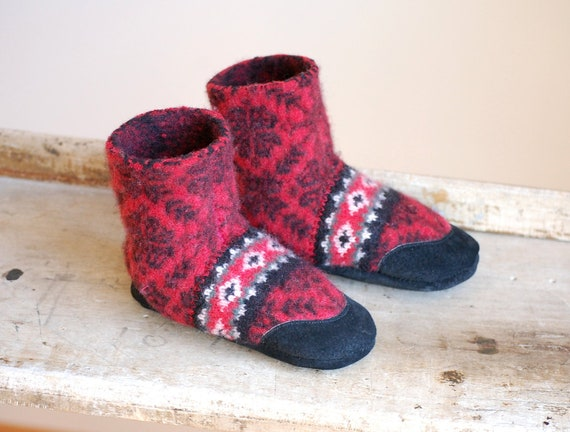 Kids Slipper Socks Scandanavian Christmas Size 13 Hung By