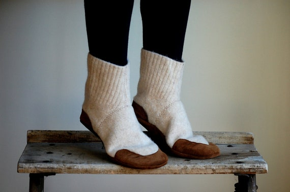 Womens Slipper Socks, Wool House Shoes, size 6.5 wide, Milk and Honey, SALE