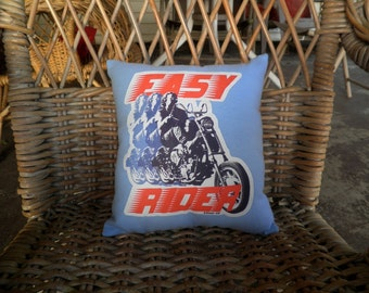 Decorative Pillow, Couch Pillow, Sofa Pillow, Chair Pillow, Bed Pillow, Throw Pillows, Easy Rider, Blue PIllow, Decorative Bed Pillow