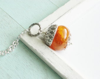 Acorn Necklace - Agate Stone Necklace - Toasted Acorn