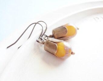 Sun Droplet - Mustard Teardrop Earrings