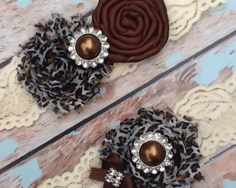 wedding garter  / CHEETAH   /  bridal  garter/  lace garter / toss garter / Something Blue / vintage inspired lace garter