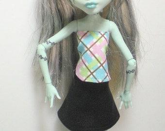 Monster High Clothes Handmade Ever After High La Dee Da Black Skirt Abstract Top