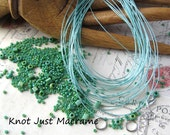 Micro Macrame Bracelet Bead and Cord Kit for Leaves Tutorial DIY Sage Green