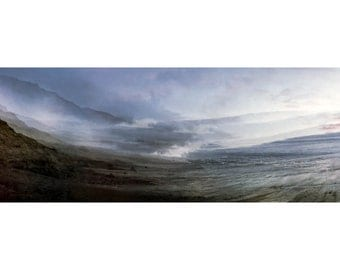 "Southern California coast panorama photograph, abstract landscape, alterscape, 35mm color film, art print  ""Dusky Revelations"""