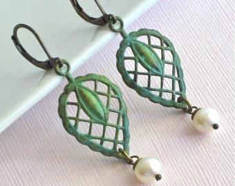 Patina Leaf Earrings - Pearl, Verdigris, Brass