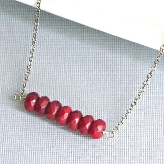 Garnet Necklace - Sterling Silver, Gemstone, Red, January Birthstone