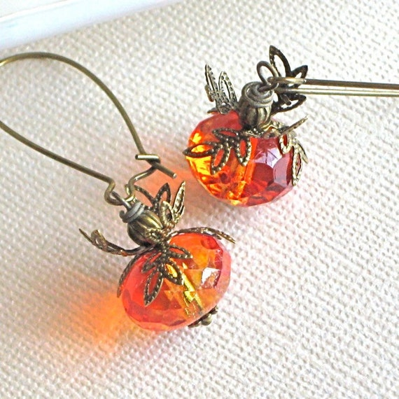 Fire Opal Czech Earrings - Glass, Orange, Brass - Sunset