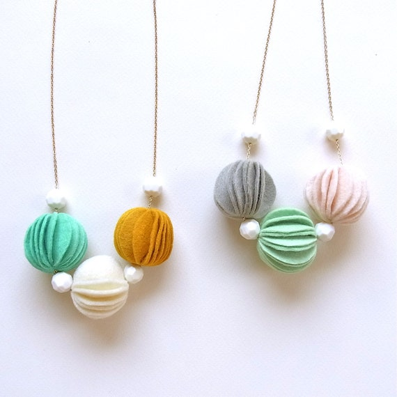 Kuru Maru Felt Ball Necklace