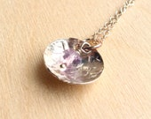 Last Chance Sale - Sterling Silver Textured Domed Disc Pendant with Faceted Amethyst Stone Necklace
