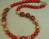 Vintage Japanese Bead Necklace RED Picasso Bead ,Yellow Flower Tensha ,Gold - Paprika