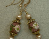 Vintage Chinese Pink Rose Oval Cloisonne Bead Earrings, Pink Pearls, Gold