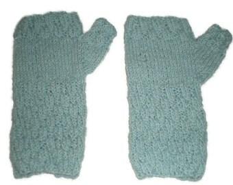 Fingerless Mittens - Hand Knit Women's Light Blue Alpaca Texting Mittens