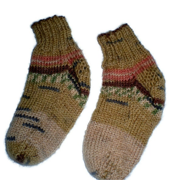 Baby Socks - Hand Knit Tan Striped Baby Socks