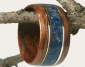 Wood Ring Walnut with Lapis Lazulil and Sterling Silver Inlay