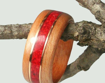 Wood Ring Cherry with Red Coral and Gold Inlay
