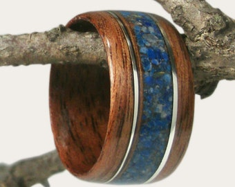 Wood Ring Walnut with Lapis Lazuli and Sterling Silver Inlay