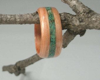 Wood Ring Cherry with Malachite Inlay