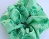 SILK Scrunchie, hand dyed, soft for hair, ponytail, silk,soft green, emerald green, dark green, forest green, Christmas, Winter holiday