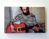 Seaman / Tiny canvas print / Guitar  / Red guitar / wall art print / small canvas print / small art / tiny drawing print