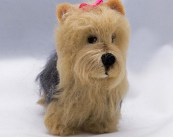 Needle Felted Miniature Dog  Yorkshire Terrier Wool Terrier Animal Sculpture