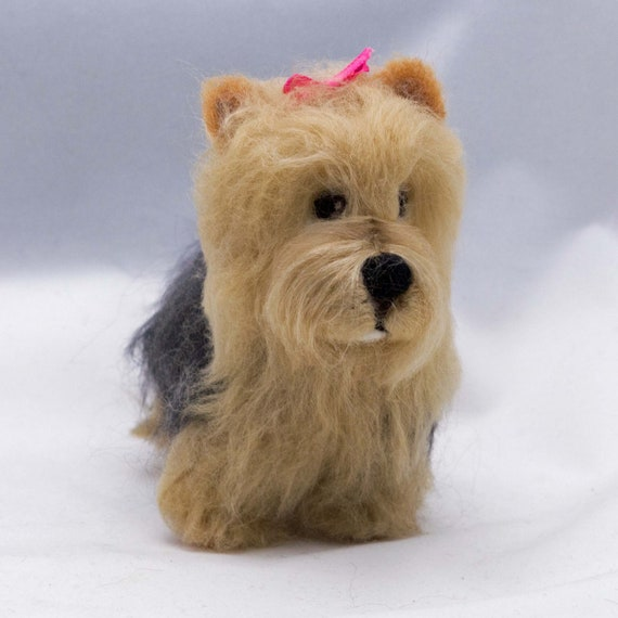 Needle Felted Miniature Dog  Yorkshire Terrier Wool Terrier Animal Sculpture