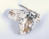 Danecraft Sterling Leaf Brooch Vintage 1930s Silver Leaves Pin Antiqued Signed Early Danecraft Felch Co