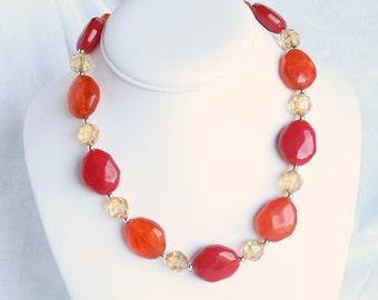Vintage Orange Red Chunky Collar Necklace Vintage Choker Orange Red Bead Crystal Adjustable