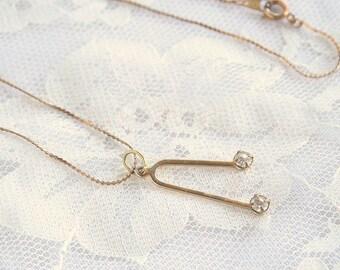 Wishbone Pendant Necklace Rhinestones Vintage Serptentine Chain